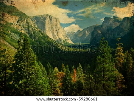 grunge photo yosemite national park, scenic landscape