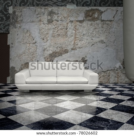 Grunge plaster wall white sofa checkered marble floor