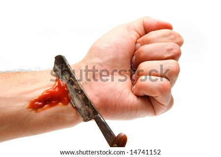 Grunge Razor Cutting Veins On A Wrist Stock Photo 14741152 ...