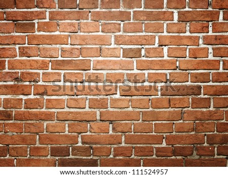 Grunge red brick wall with copy space