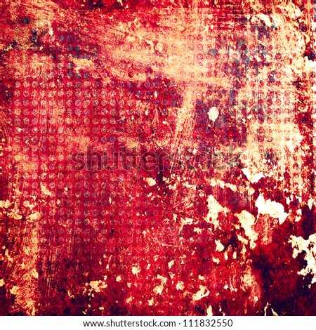 Grunge Red contracting Metal texture with net circle texture background.