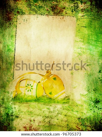 Grunge retro background with easter elements and copy space