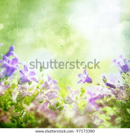 Grunge retro background with flowers and copy space