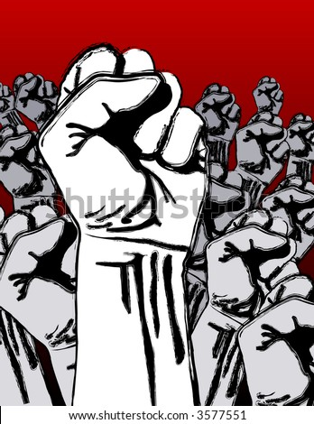 Grunge revolution - crowd of fists; pseudo paint-stroke stencil effect - stock photo