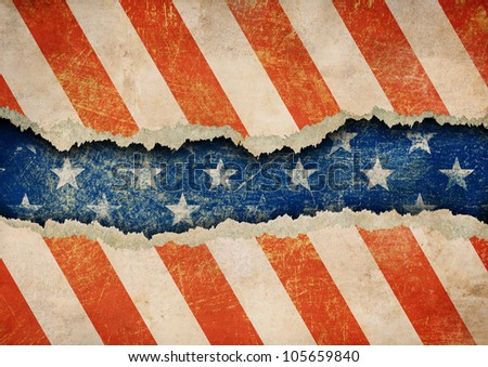 Grunge ripped paper USA flag pattern