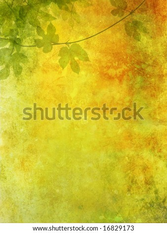 Grunge, romantic background with grape leaves