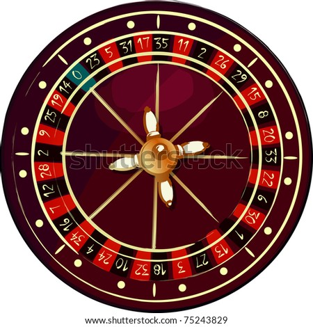 Grunge roulette wheel over white background - stock photo