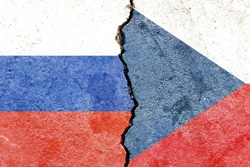 Grunge Russia VS Czech Republic national flags icon pattern isolated on cracked wall background, abstract international political relationship partnership divided conflicts concept texture wallpaper