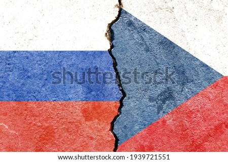 Grunge Russia VS Czech Republic national flags icon pattern isolated on cracked wall background, abstract international political relationship partnership divided conflicts concept texture wallpaper Foto stock ©
