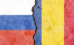 Grunge Russia VS Romania national flags icon pattern isolated on broken cracked wall background, abstract international political relationship partnership divided conflicts concept texture wallpaper