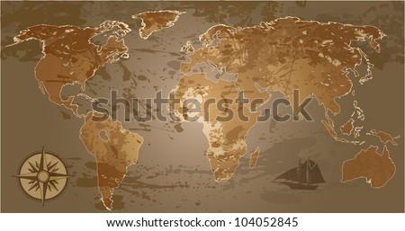 Grunge, rustic world map. Raster version of vector illustration.