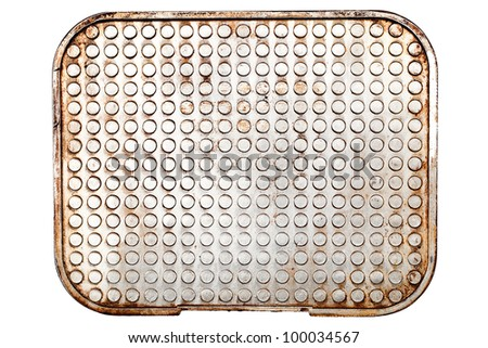 Grunge rusty metal plate isolated on white
