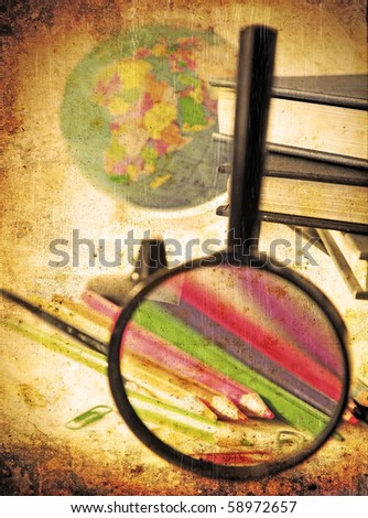 Stock Photo Grunge school background conceptual image of time