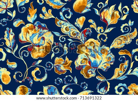 Shutterstock Grunge seamless hand painted floral pattern with paisley, flowers, flores, tulips. Freehand watercolor vintage oriental print. Dark blue batik background. Colorful  whimsical water color design fond.
