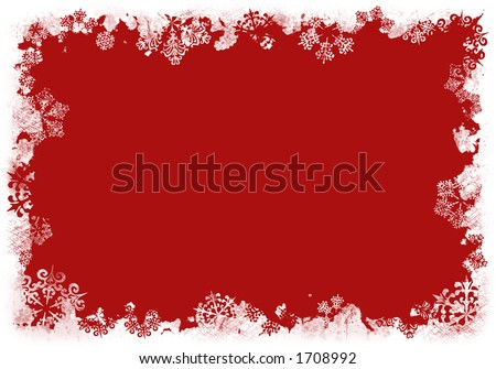 Grunge Snowflakes Background Red