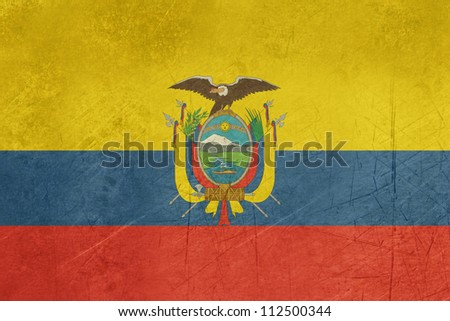Grunge sovereign state flag of country of Ecuador in official colors.