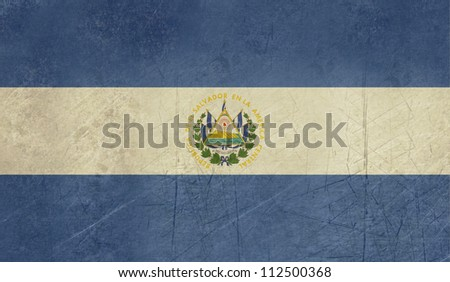 Grunge sovereign state flag of country of El Salvador in official colors.