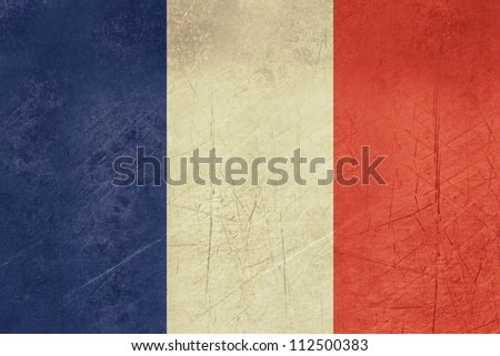 Grunge sovereign state flag of country of France in official colors.