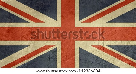 Grunge sovereign state flag of country of United Kingdom in official colors. #112366604