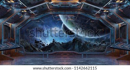 Grunge Spaceship blue and orange interior with view on distant planets system 3D rendering elements of this image furnished by NASA