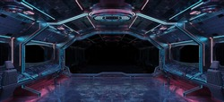 Grunge Spaceship interior with black background 3D rendering