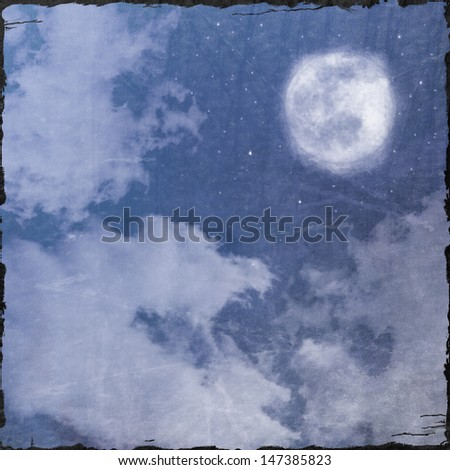 Grunge Spooky Halloween Night Sky Background