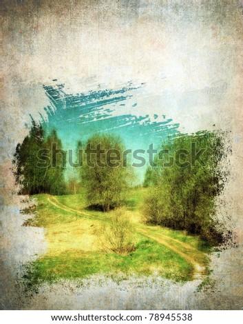 Grunge spring landscape, vintage background - stock photo
