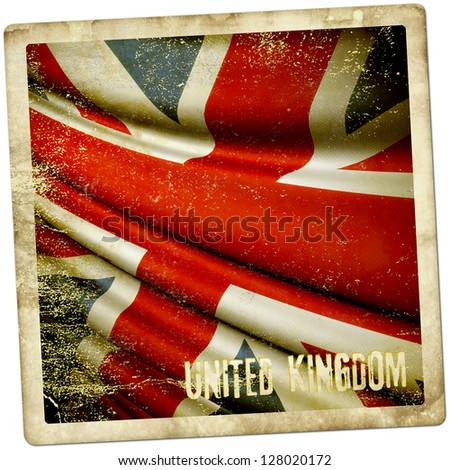 Grunge sticker of United Kingdom