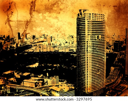 Grunge style background with Tokyo city view