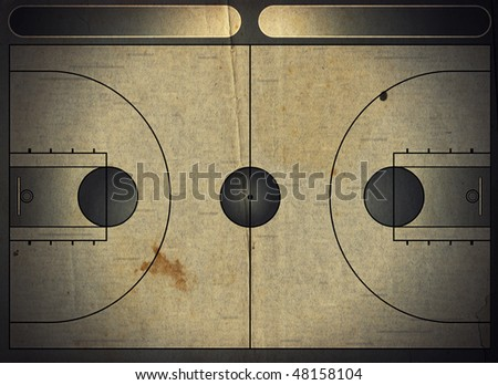 Grunge style illustration of a basketball court