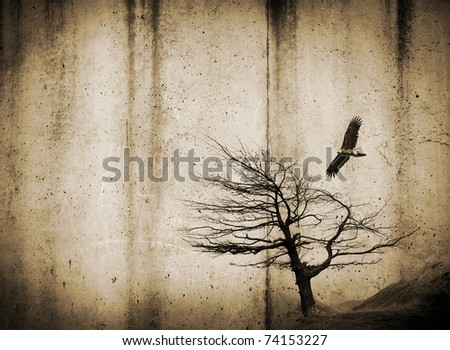 Grunge style textures with stains and tree and bird
