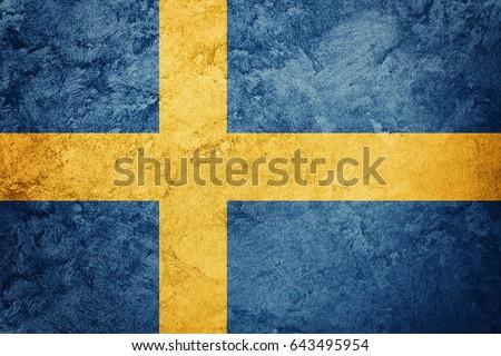 Grunge Sweden flag. Sweden flag with grunge texture.