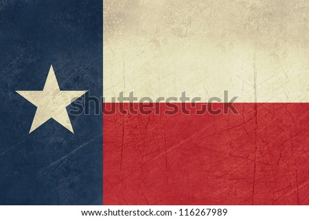 grunge texas state flag of america isolated on white background