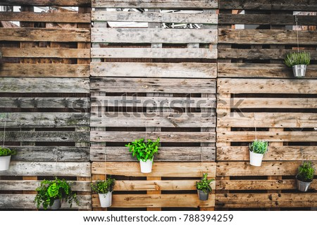 grunge texture copy space green thumb pallets wooden background .