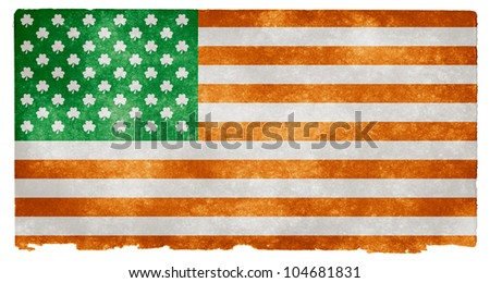 Grunge textured American style flag on vintage paper, with 50 shamrocks instead of stars. An open concept design which could symbolize Irish culture in the United States for example