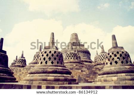 Grunge textured Borobudur temple
