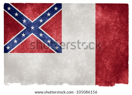 Grunge textured historical Confederate Flag on vintage paper. More specifically, the 3rd National Flag from 1865 (also known as the Blood Stained Banner).