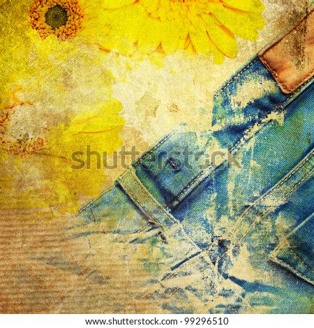grunge textured image with jeans and flowers