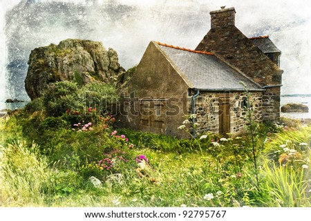 grunge textured landscape picture of an old cottage in Brittany
