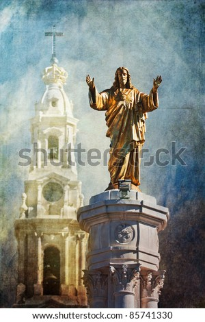 grunge textured picture of a jesus sculpture at the famous pilgrimage site in fatima Portugal