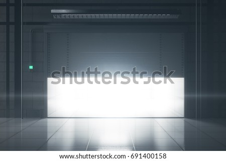 Grunge tile interior with illuminated opening garage door. Mock up, 3D Rendering