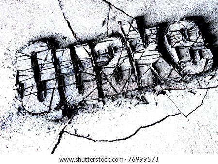 Grunge title of the word quake damaged, crumpled and destroyed like a city in a large magnitude earthquake. Concept for natural disasters like the earthquakes in Nepal, Japan & San Andreas California.