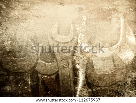 Grunge tools, scratched background
