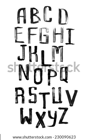 Grunge uneven handwritten paint alphabet vintage calligraphy stamp style font capital letters