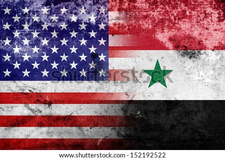 grunge usa and syria flag
