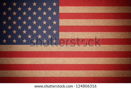 Grunge USA flag background on recycled paper texture
