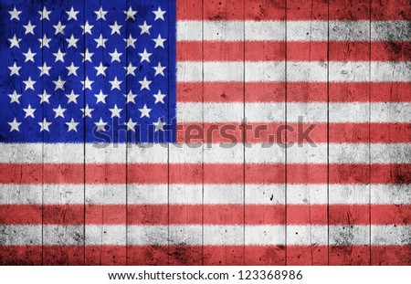 Grunge USA flag on wood texture background
