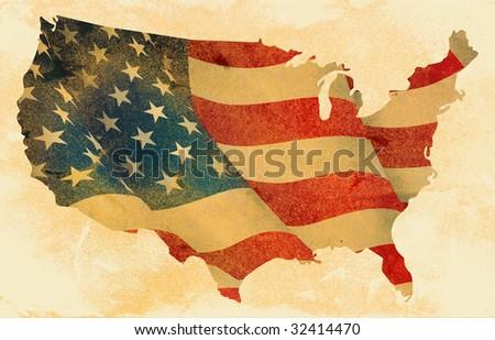 grunge USA map and flag