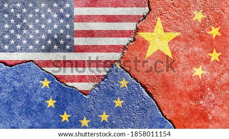 Grunge USA VS EU (Europe) VS China national flags icon pattern isolated on weathered broken cracked wall background, abstract international politics relationship friendship conflicts texture wallpaper