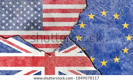 Grunge USA vs UK vs EU (European Union) flags icon isolated on broken weathered cracked wall background, abstract US UK EU politics economy relationship divided conflicts concept texture wallpaper